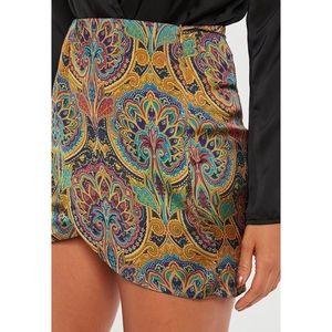 Missguided Paisley Print Asymmetrical Mini Skirt